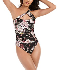 Cherry Blossom Floral Printed One Shoulder One-Piece Swimsuit