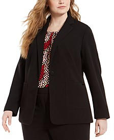 Plus Size Piped-Trim Tuxedo Blazer