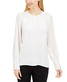 Petite Button-Cuff Top