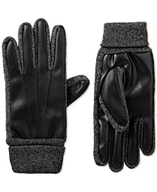 Men's Faux-Leather Stretch smarTouch Gloves