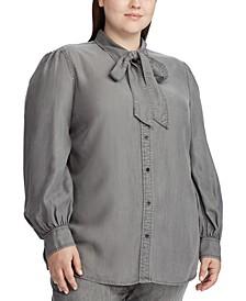 Plus Size Necktie Buttoned Blouse