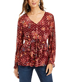 Petite Printed Drawstring-Waist Top, Created For Macy's