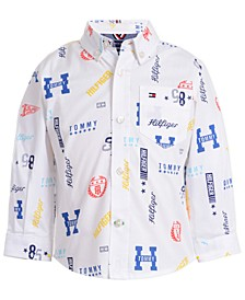 Baby Boys Stretch Logo-Print Poplin Shirt