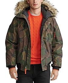 폴로 랄프로렌 Polo Ralph Lauren Mens Faux-Fur-Trim Down Bomber Jacket,British Elmwood Camo