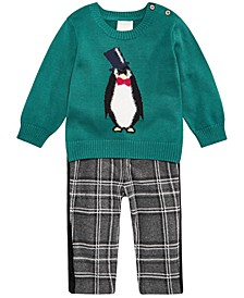 Baby Boys Penguin Sweater & Velvet-Stripe Plaid Pants, Created For Macy's