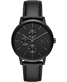 Men's Cayde Black Leather Strap Watch 42mm