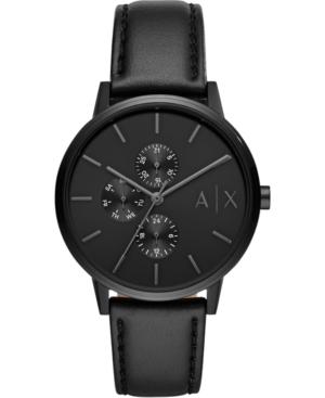 Men's Cayde Black Leather Strap Watch 42mm