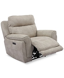 "Bryer 43"" Fabric Dual Power Motion Recliner, Created for Macy's"
