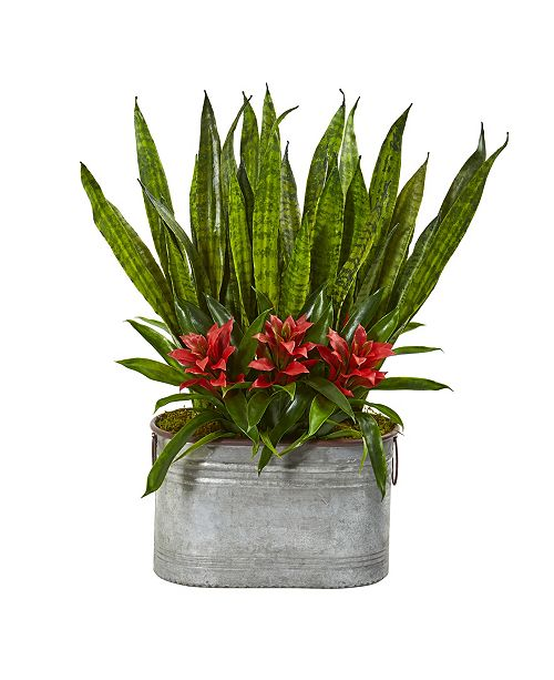 """Nearly Natural 24"""" Bromeliad and Sansevieria Artificial Plant in Metal Planter"""