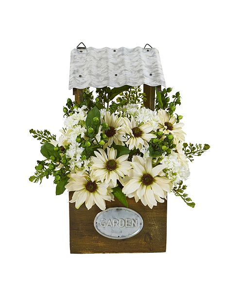 """Nearly Natural 14"""" Mixed Daisy Artificial Plant in Tin Roof Planter"""