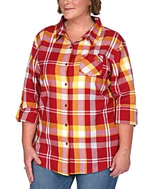 UG Apparel Women's Plus Size Iowa State Cyclones Flannel Boyfriend Plaid Button Up Shirt