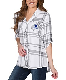 UG Apparel Women's Kentucky Wildcats Satin Weave Plaid Button Up Shirt
