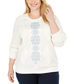 Plus Size All About Ease Embroidered Top
