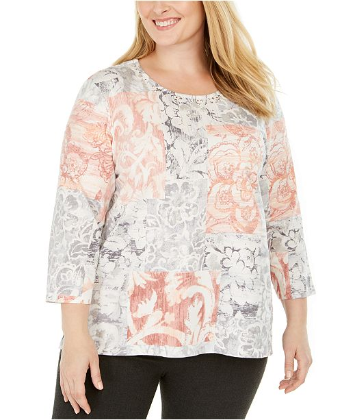 Alfred Dunner Plus Size All About Ease Printed 3/4-Sleeve Top