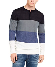 Men's Colorblocked Henley Sweater