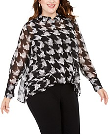 INC Plus Size Houndstooth Ruffle-Front Top, Created For Macy's