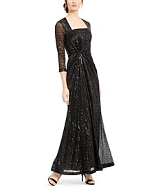Sequined Square-Neck Gown