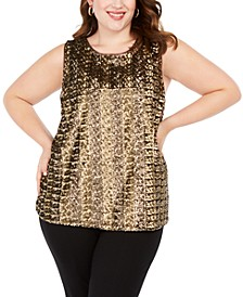 INC Plus Size Sequined Tank Top, Created For Macy's