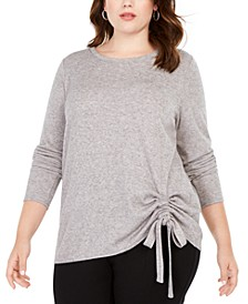 INC Plus Size Drawstring-Ruched Top, Created For Macy's