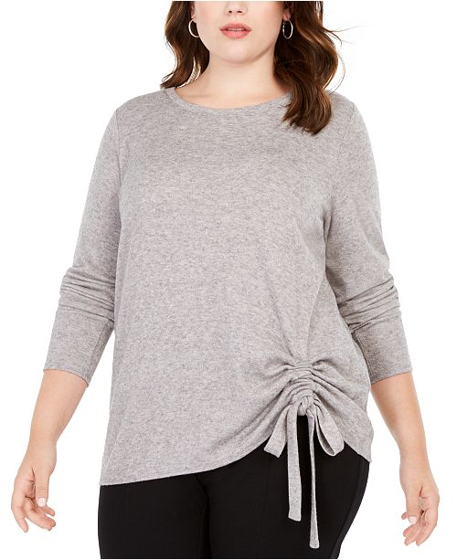 INC International Concepts INC Plus Size Drawstring-Ruched Top, Created For Macy's