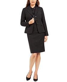 Le Suit Notched-Lapel Embossed Skirt Suit