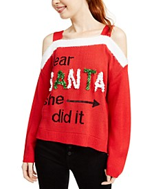 Juniors' Cold Shoulder Holiday Sweater