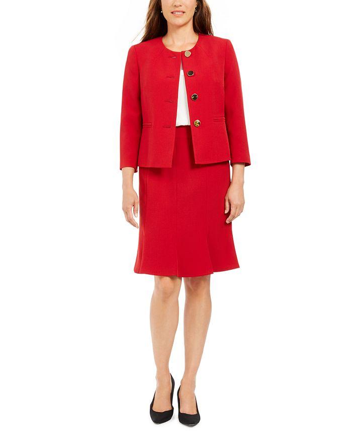 Le Suit - Crewneck Flare-Hem Skirt Suit