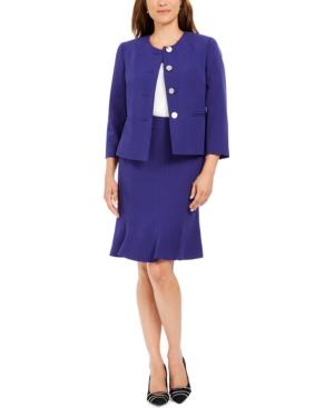 Crewneck Flare-Hem Skirt Suit