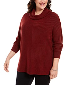 Plus Size Mixed-Ribbed Turtleneck Tunic Sweater, Created For Macy's