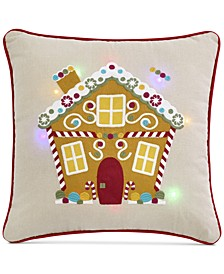 "Gingerbread Home 20"" x 20"" Light Up Decorative Pillow"
