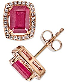 Certified Ruby (2 ct. t.w.) & White Sapphire (1/4 ct. t.w.) Halo Stud Earrings in 14k Rose Gold (Also in Sapphire & Emerald)