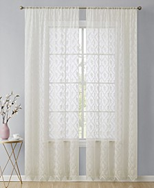 Lumino by Melbourne Floral Sheer Voile Rod Pocket Curtain Panels - 54 W x 84 L - Set of 2