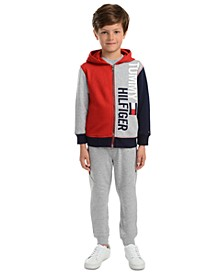 Little Boys Lawrence Colorblocked Logo Hoodie & Beau Side Stripe Fleece Sweatpants