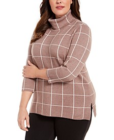 Plus Size Plaid Cowl-Neck Sweater