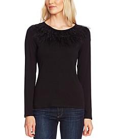 Feather-Trim Sweater