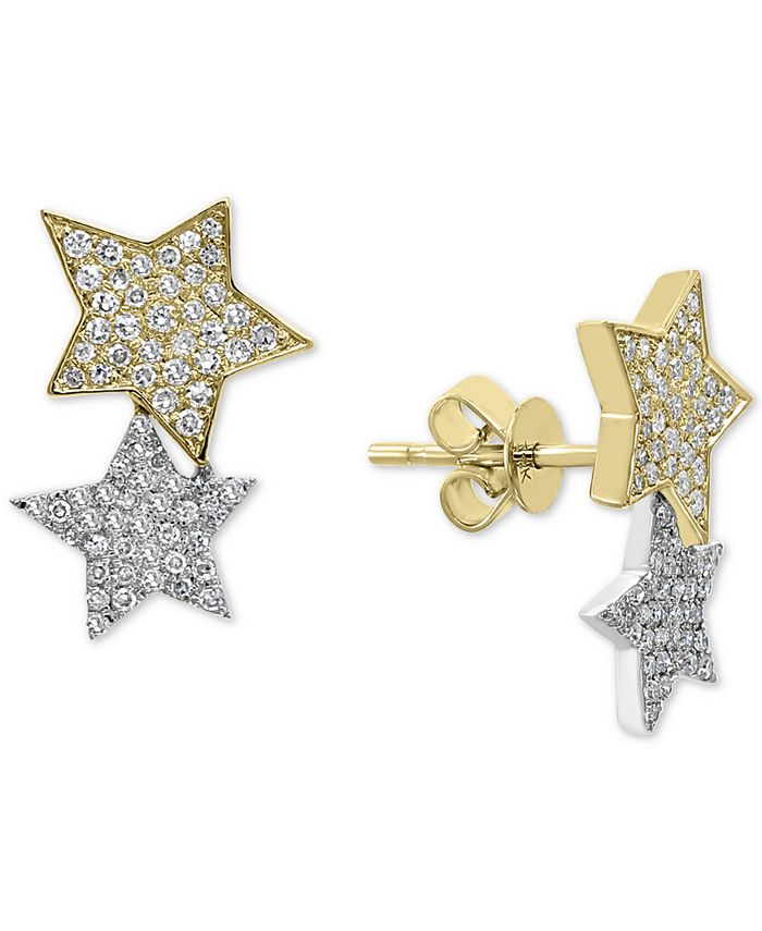EFFY Collection - Diamond Stars Stud Earrings (1/2 ct. t.w.) in 14k Gold & White Gold