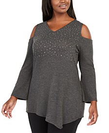 Plus Size Embellished Cold-Shoulder Tunic