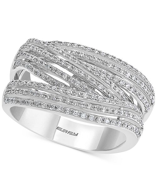 EFFY Collection EFFY® Diamond Crossover Statement Ring (1/2 ct. t.w.) in Sterling Silver