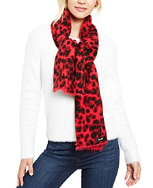 Fuzzy Animal Print Knit Scarf