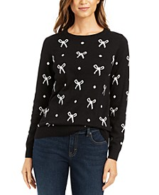 Petite Bow-Print Sweater, Created for Macy's