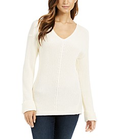 Petite Cotton Ribbed Cuffed Sweater, Created for Macy's