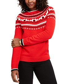 Petite Fair-Isle Crewneck Sweater, Created For Macy's
