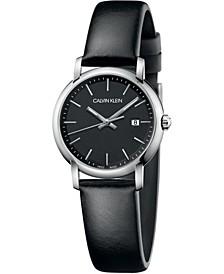 Women's Established Black Leather Strap Watch 32mm