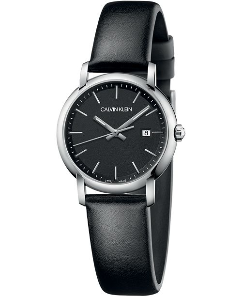 Calvin Klein Women's Established Black Leather Strap Watch 32mm