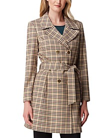 Plaid Double-Breasted Trench Coat