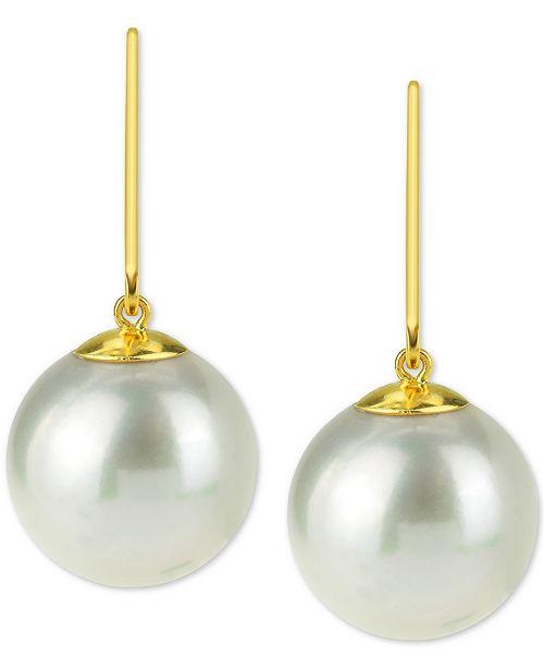 Macy's Cultured Freshwater Pearl (12mm) Drop Earrings in 14k Gold