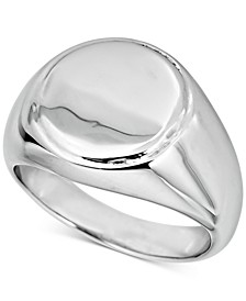 Men's Round Signet Ring in Sterling Silver