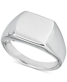 Men's Square Signet Ring in Sterling Silver
