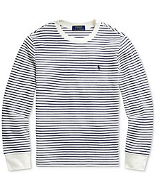 Polo Ralph Lauren Big Boys Waffle Knit Stripe Thermal, Created For Macy's