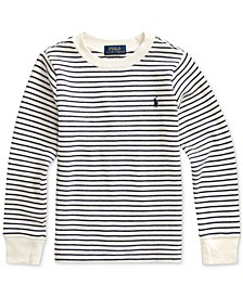 Little Boys Waffle Knit Stripe Sweatshirt, Created For Macy's